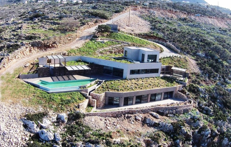 luxury villa for sale in chania aerial view