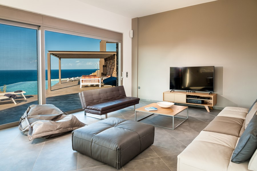 luxury villa for sale in chania living view