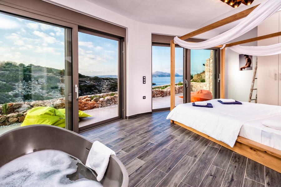 luxury villa for sale in chania living area