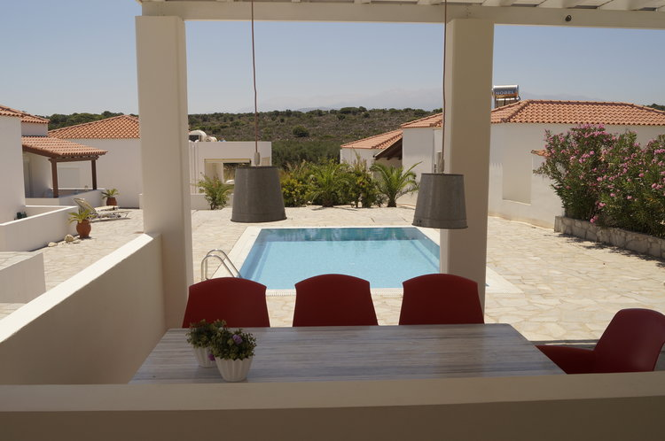 House for sale in Chania Crete veranda overlooking the pool