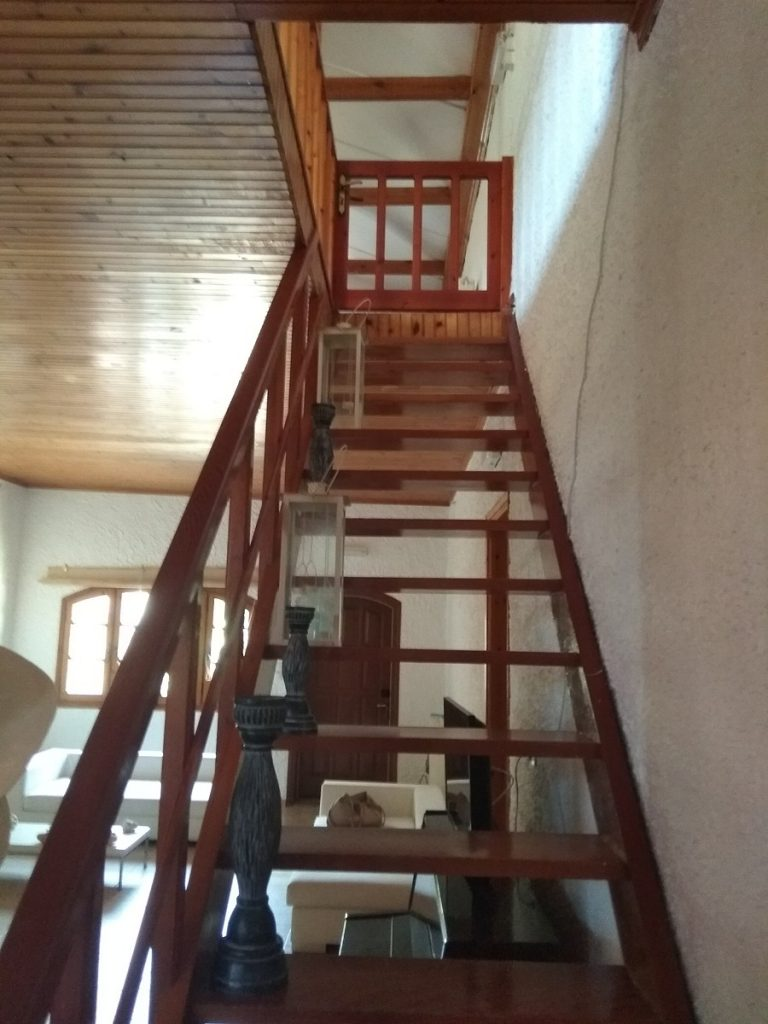 house for sale in chania kolymbari wooden stairs