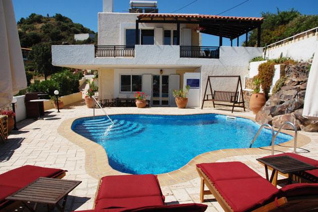 villas for sale in chania crete pool area