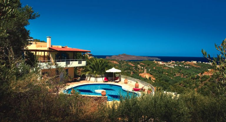 villas for sale in chania crete pool and view