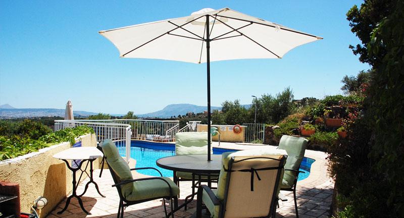 villa for sale in chania crete pool area