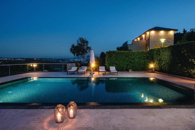 hotel for sale in crete akrotiri villa night view