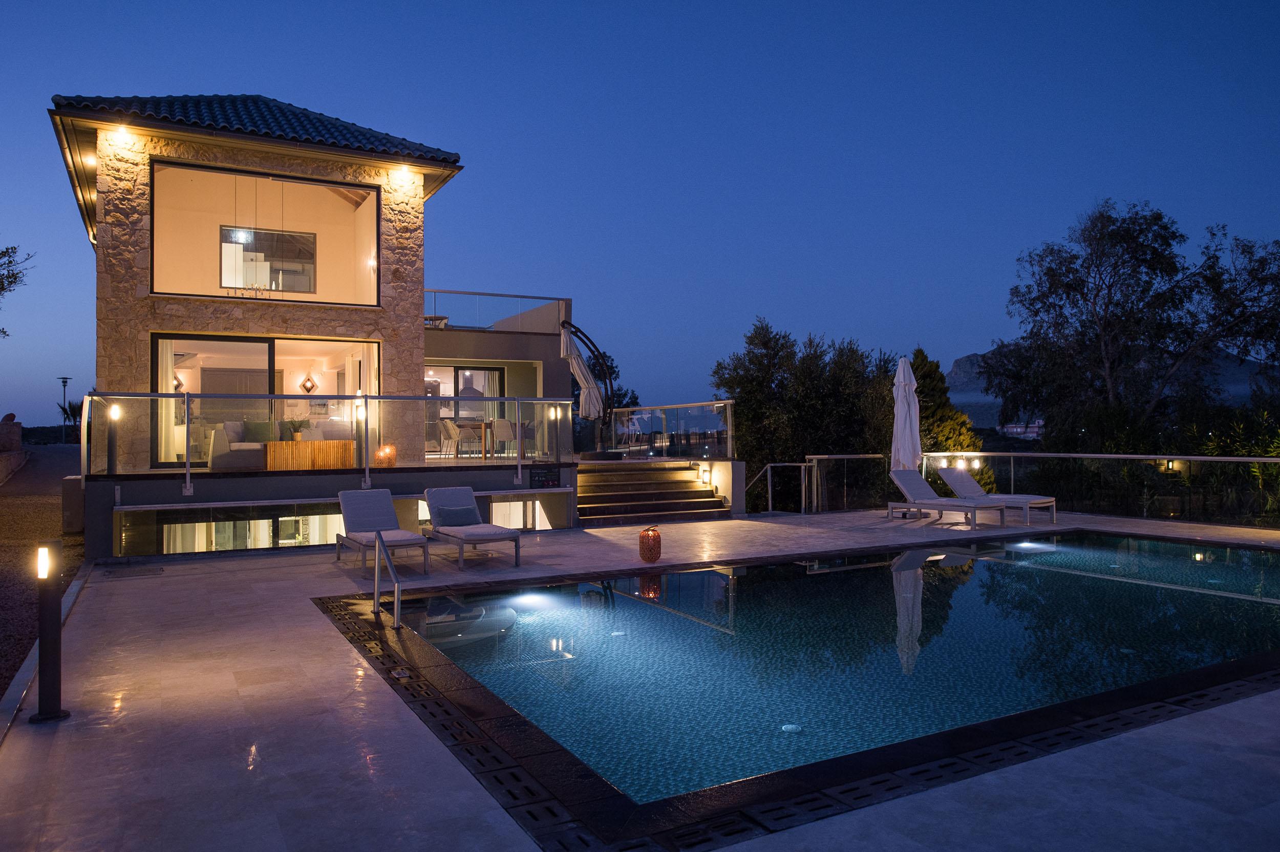 hotel for sale in crete akrotiri by night