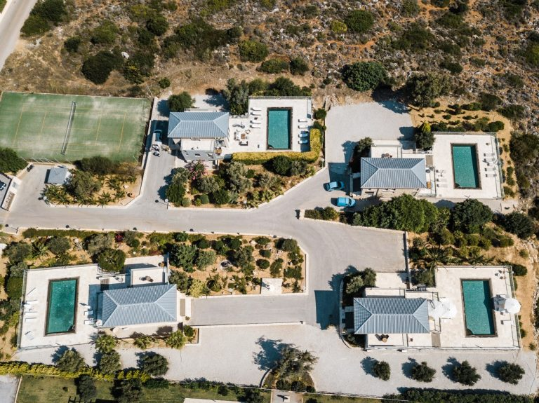hotel for sale in akrotiri aerial view