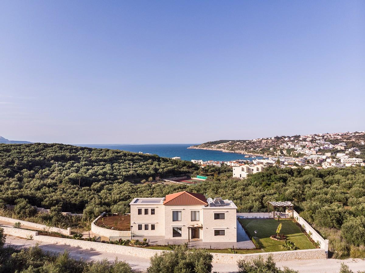Luxury stone villa for sale in Apokoronas Chania Crete drone photos kh132