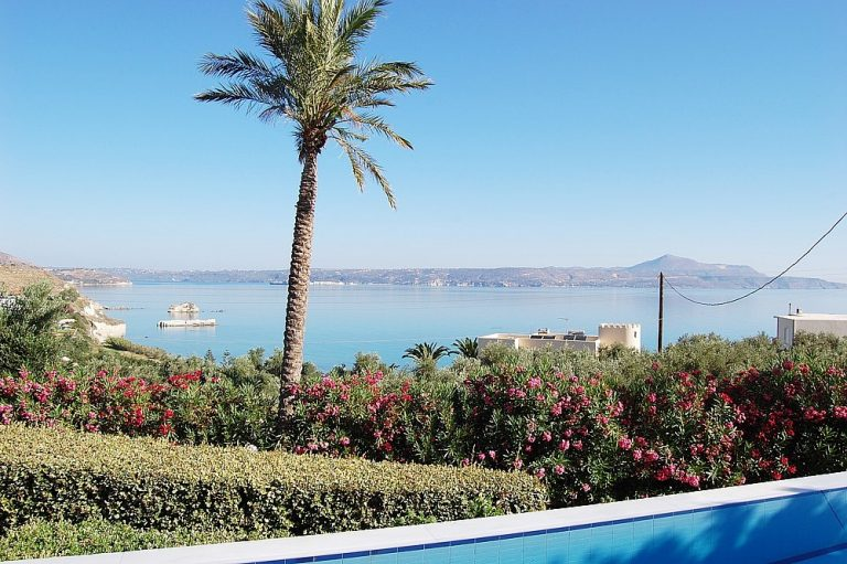 House for sale in Chania Crete views from the pool KH135