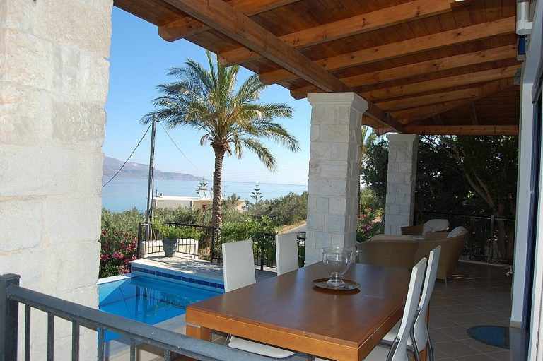 House for sale in Chania Crete covered dining area KH135