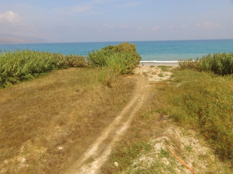 Seafront plot of land in Platanias Chania Crete for sale aerial photo CL066