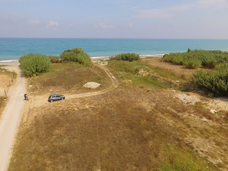 Seafront plot of land in Platanias Chania Crete for sale plot from above CL066
