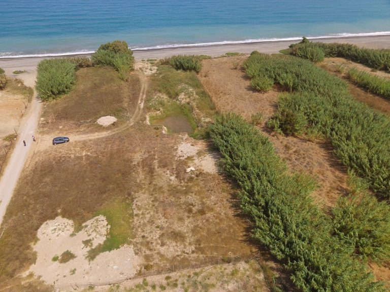 Seafront plot of land in Platanias Chania Crete for sale aerial CL066