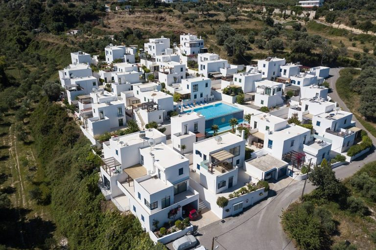 house for sale in rethymno crete pool aerial view