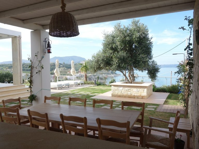 Luxury villa for sale in Chania Crete external dining KH137