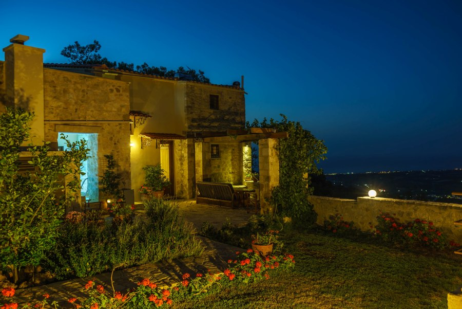 stone house for sale in rethymno crete by night